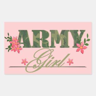 Chica del ejército rectangular pegatina
