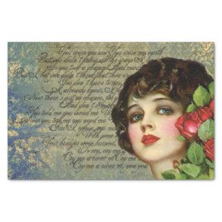 Chica del encanto del Victorian con el papel seda