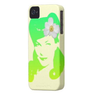 Chica del encanto del vintage iPhone 4 Case-Mate cárcasa