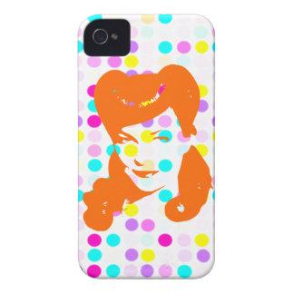 Chica del encanto del vintage (lunares) iPhone 4 protectores