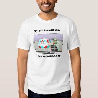 chica del fútbol 3D en la TV Camisetas