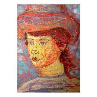 chica del gorra del vintage plantilla de tarjeta personal
