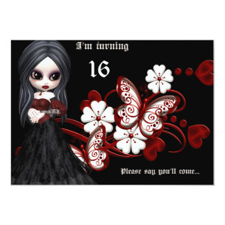 Chica del gótico con cumpleaños del dulce 16 de invitación 12,7 x 17,8 cm