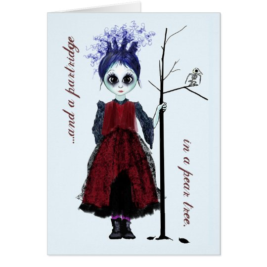 Chica del gótico del navidad tarjeta de felicitación