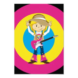 Chica del Hippie con la guitarra Invitación 8,9 X 12,7 Cm