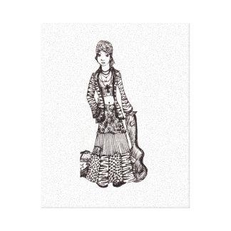Chica del Hippie con la impresión del arte de la l Impresión En Lona
