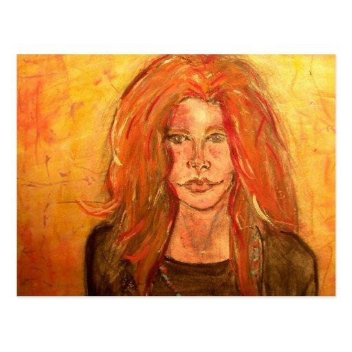 chica del hippie de la hermana del alma tarjeta postal