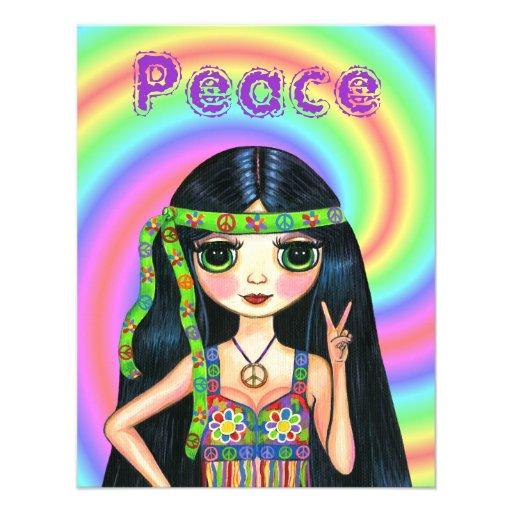 chica del Hippie del signo de la paz de los años 6 Comunicado Personal