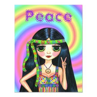 chica del Hippie del signo de la paz de los años Invitación 10,8 X 13,9 Cm
