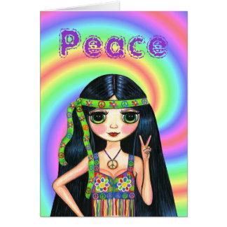 chica del Hippie del signo de la paz de los años Tarjeta De Felicitación