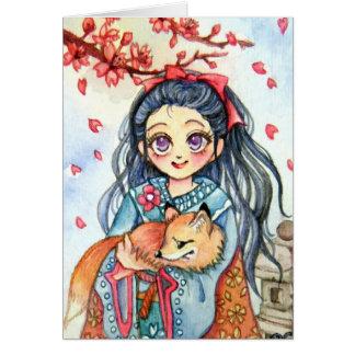 Chica del kimono que lleva a cabo poco Fox Tarjeta Pequeña