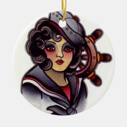 chica del marinero ornamento para arbol de navidad