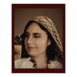 Chica del mexicano del vintage invitación 10,8 x 13,9 cm