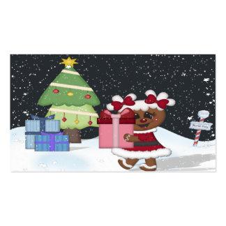 Chica del pan de jengibre, árbol de navidad, tarjetas de visita