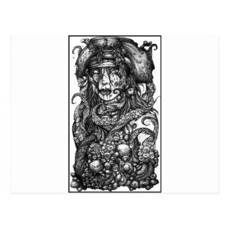 Chica del pirata del zombi tarjetas postales