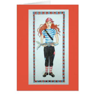 Chica del pirata tarjeta de felicitación