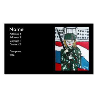 Chica del soldado plantilla de tarjeta de visita