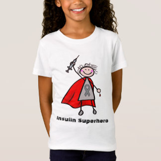 Chica del super héroe de la insulina de la camiseta