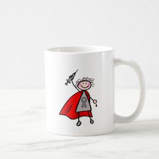 Chica del super héroe de la insulina de la taza de café