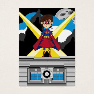 Chica del super héroe en tejado tarjeta de negocios