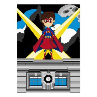 Chica del super héroe en tejado tarjetas de visita grandes