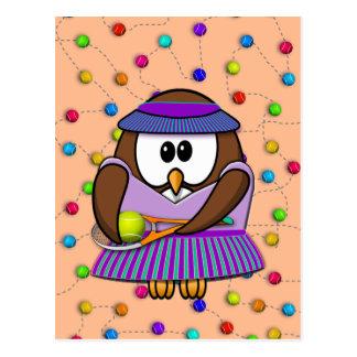 chica del tenis-búho tarjeta postal