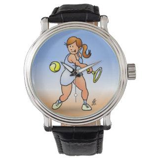 Chica del tenis que golpea un revés reloj