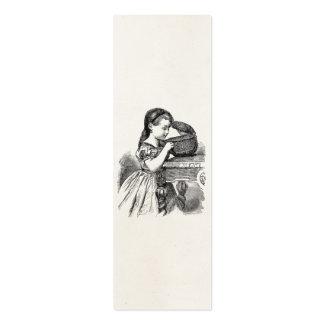 Chica del Victorian del vintage con la cesta Tarjetas De Visita Mini