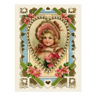 Chica del Victorian en la reproducción del vintage Postal