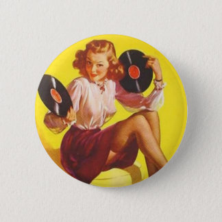 Chica del vinilo del vintage chapa redonda de 5 cm