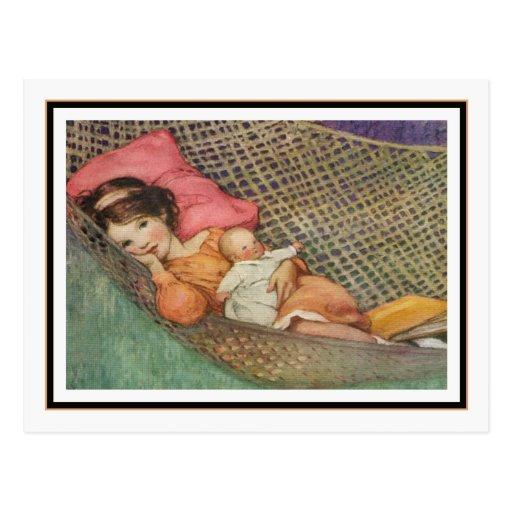 Chica del vintage en hamaca de Jessie Willcox Smit Tarjeta Postal