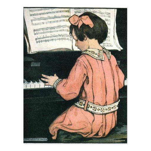 Chica del vintage, música, piano, Jessie Willcox S Postal