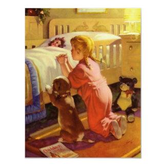Chica del vintage que ruega con el perro; Rezos de Invitación 10,8 X 13,9 Cm