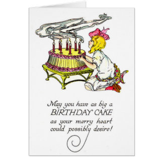 Chica del vintage y torta de cumpleaños tarjeta de felicitación
