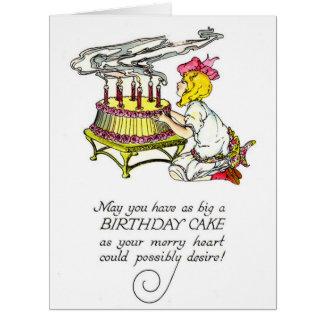 Chica del vintage y torta de cumpleaños tarjeta de felicitación grande