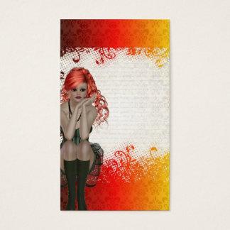 Chica dirigido rojo del gótico tarjeta de negocios