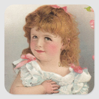 Chica dulce del vintage pegatina cuadrada