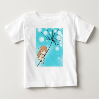Chica durmiente del diente de león camiseta de bebé