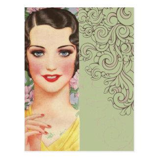 chica elegante de París de la moda de la primavera Postal
