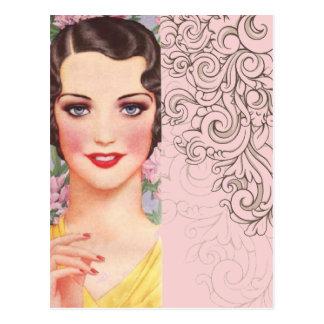 chica elegante de París de la moda del rosa del Postal