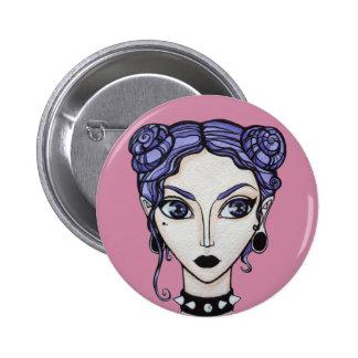 Chica en colores pastel del gótico chapa redonda de 5 cm