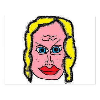 Chica en el borde postal