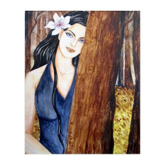 Chica en el bosque por la pradera de Farida Impresión Acrílica