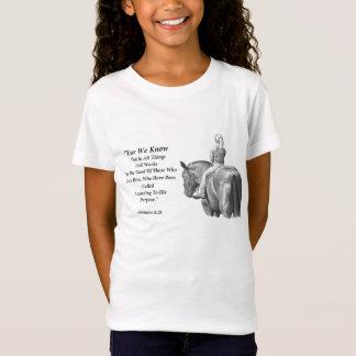 Chica en el caballo, arte del lápiz: Verso de la Camiseta