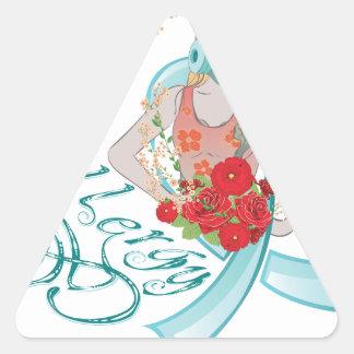 Chica en Gasmask Allergy2 Pegatina Triangular