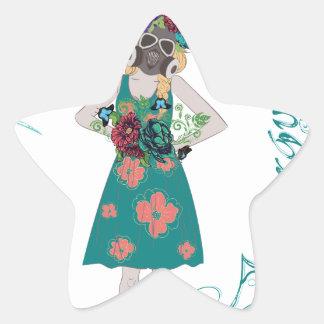 Chica en la alergia de Gasmask Pegatina En Forma De Estrella