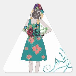 Chica en la alergia de Gasmask Pegatina Triangular