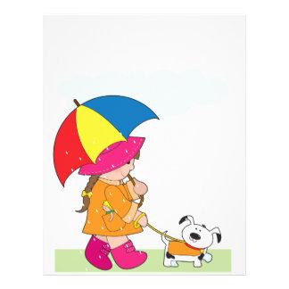 Chica en lluvia folleto 21,6 x 28 cm