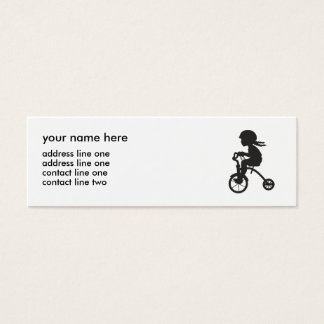 Chica en silueta del triciclo tarjeta de visita mini