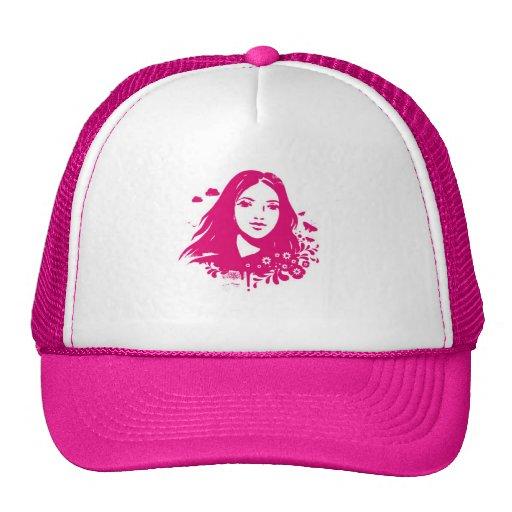 Chica en vector gorras